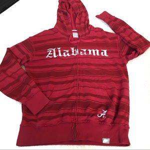 University of Alabama Red Stripe Zip Hoodie -M